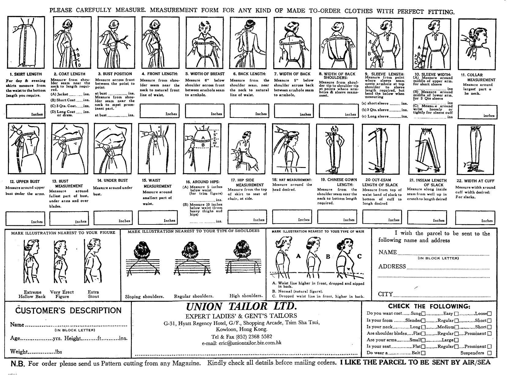 Tailor Order Form Ladies' Order Form